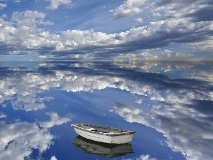 Boat, reflection, Sky, lake, clouds