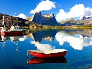 Boats, reflection, clouds, lake, Mountains