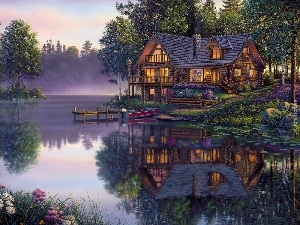 reflection, Boat, house, Mirror, lake