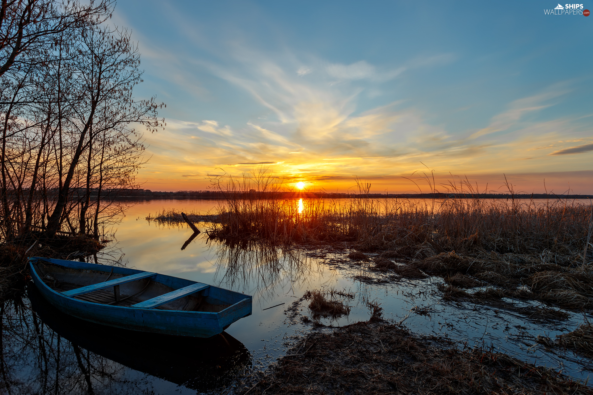 viewes, Great Sunsets, Boat, trees, lake