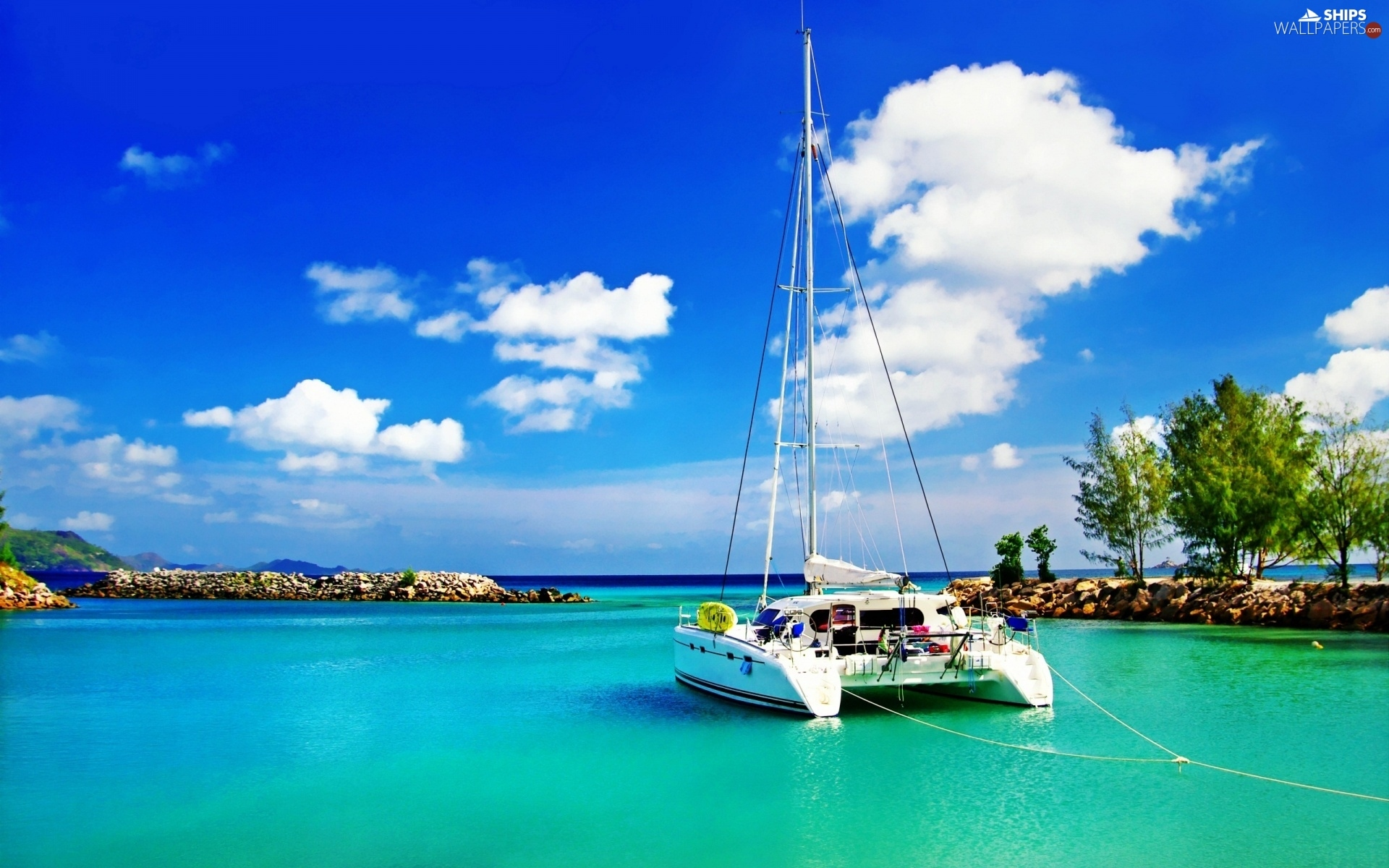 clouds, Catamaran, sea