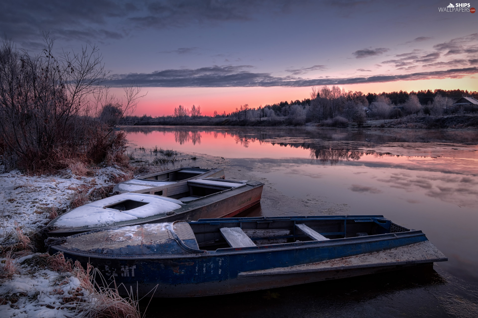winter, boats, viewes, Latgale, coast, Dubna River, trees, Latvia, country, Great Sunsets