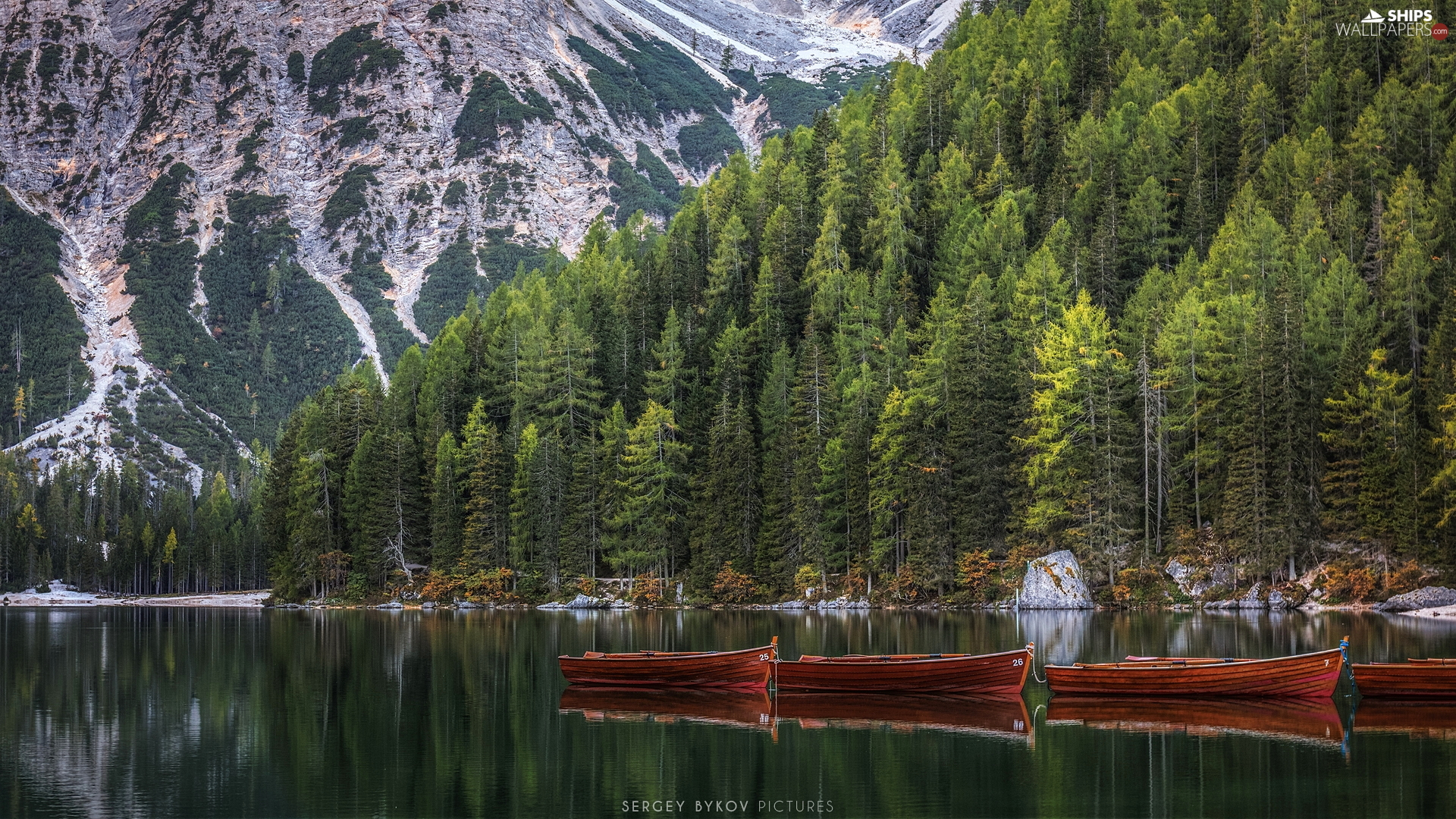 trees, South Tyrol, Pragser Wildsee Lake, Dolomites Mountains, Italy, viewes, boats