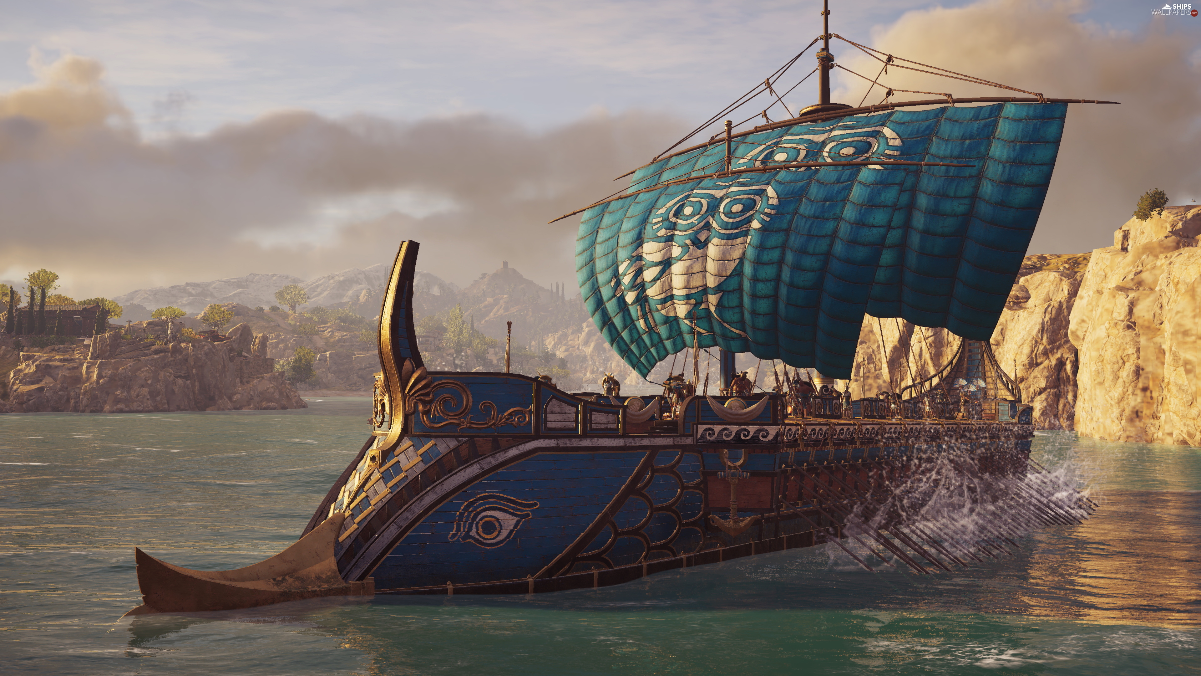 sea, rocks, Assassins Creed Odyssey, sailing vessel, game