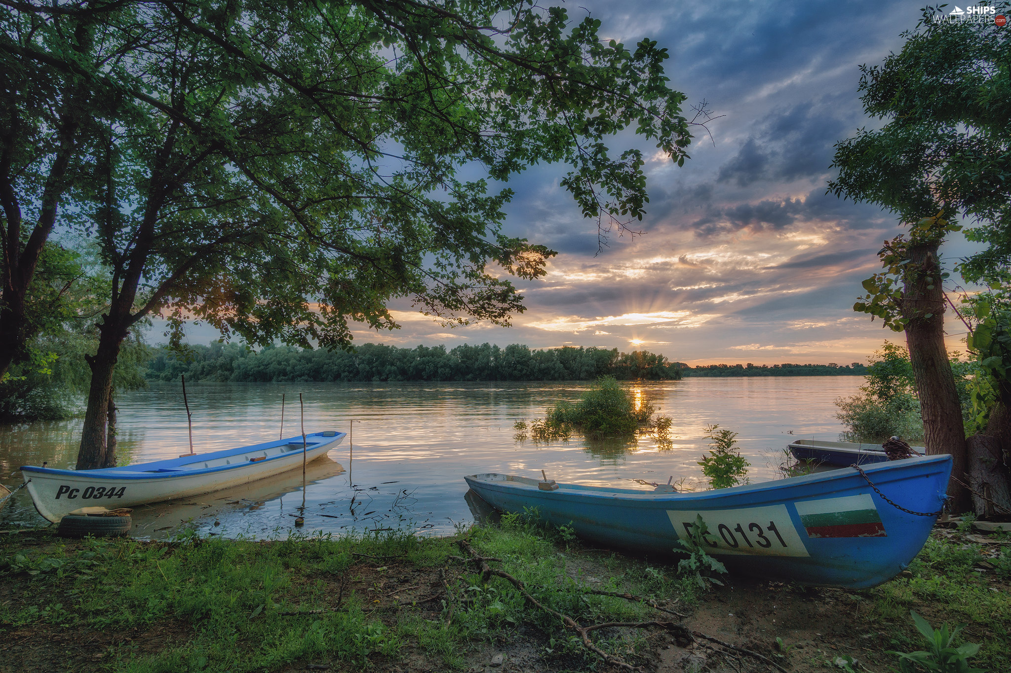 coast, lake, viewes, Great Sunsets, trees, boats
