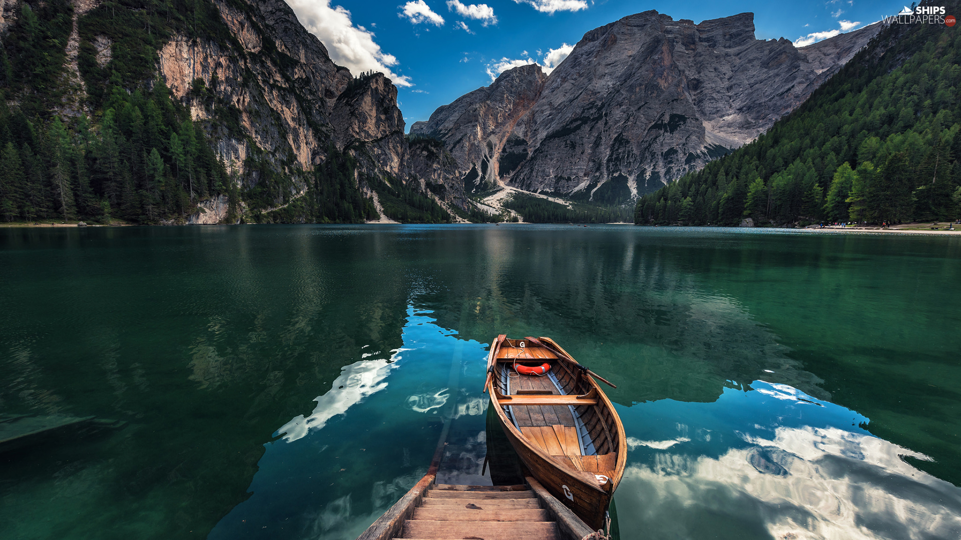 viewes, Dolomites, Pragser Wildsee Lake, wood, Mount Seekofel, Italy, South Tyrol, Stairs, Boat, trees