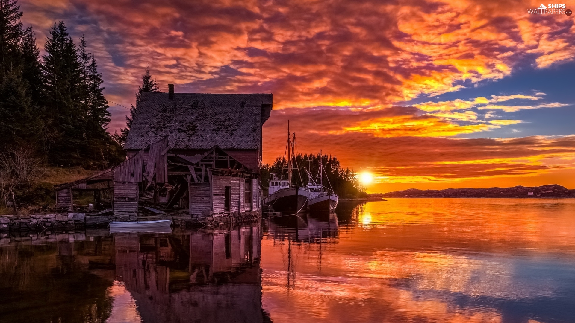Cutters, Toftøya Island, Great Sunsets, North Sea, Norway, Boats, house