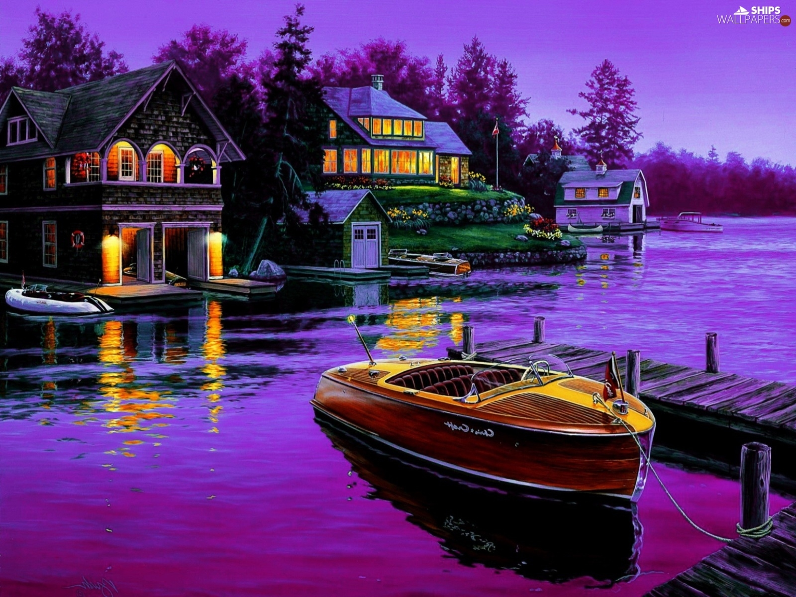 lake, Houses, picture, Motor boat