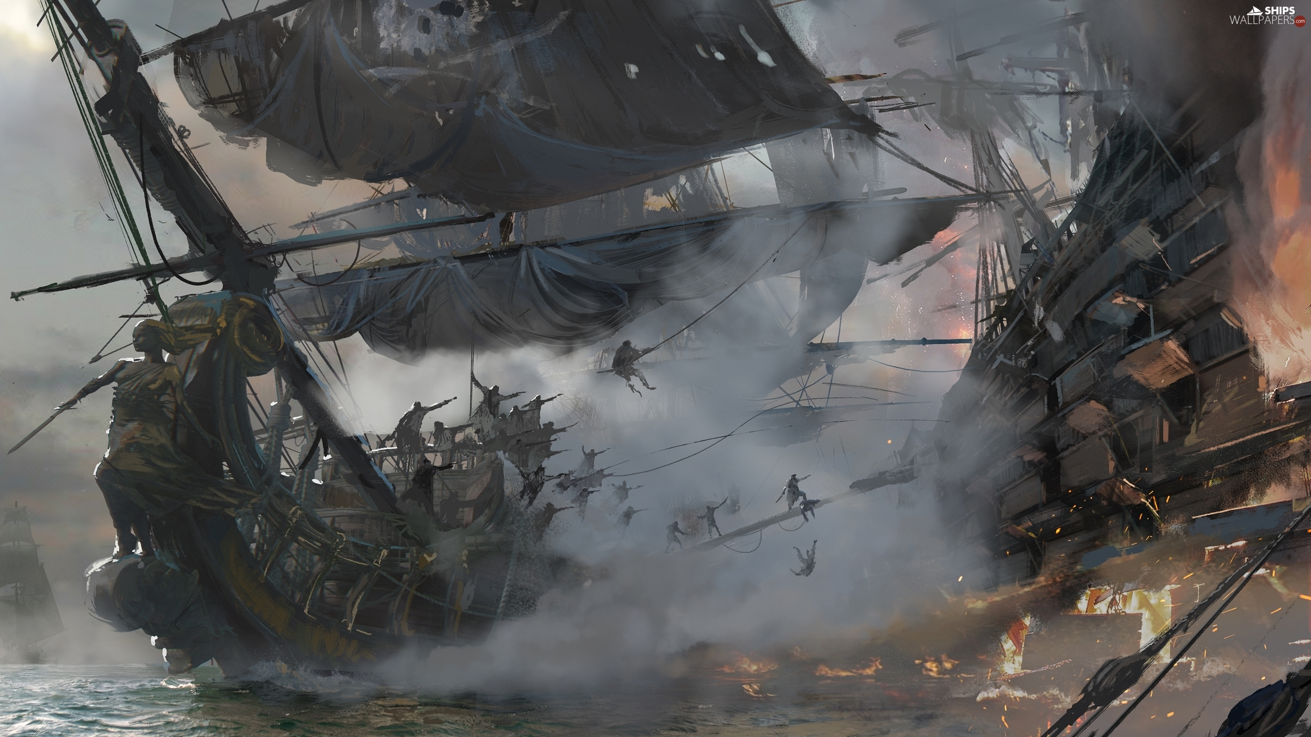 Fight, sailboats, Ship, piratical, Skull and Bones