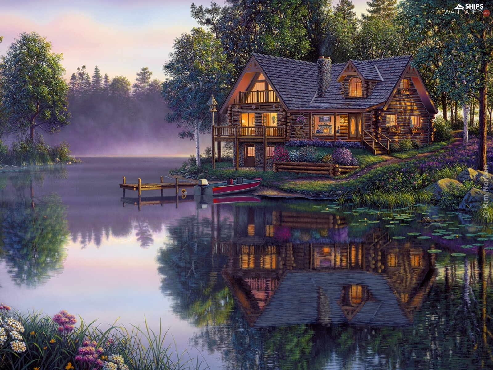 reflection, Mirror, lake, Boat, house