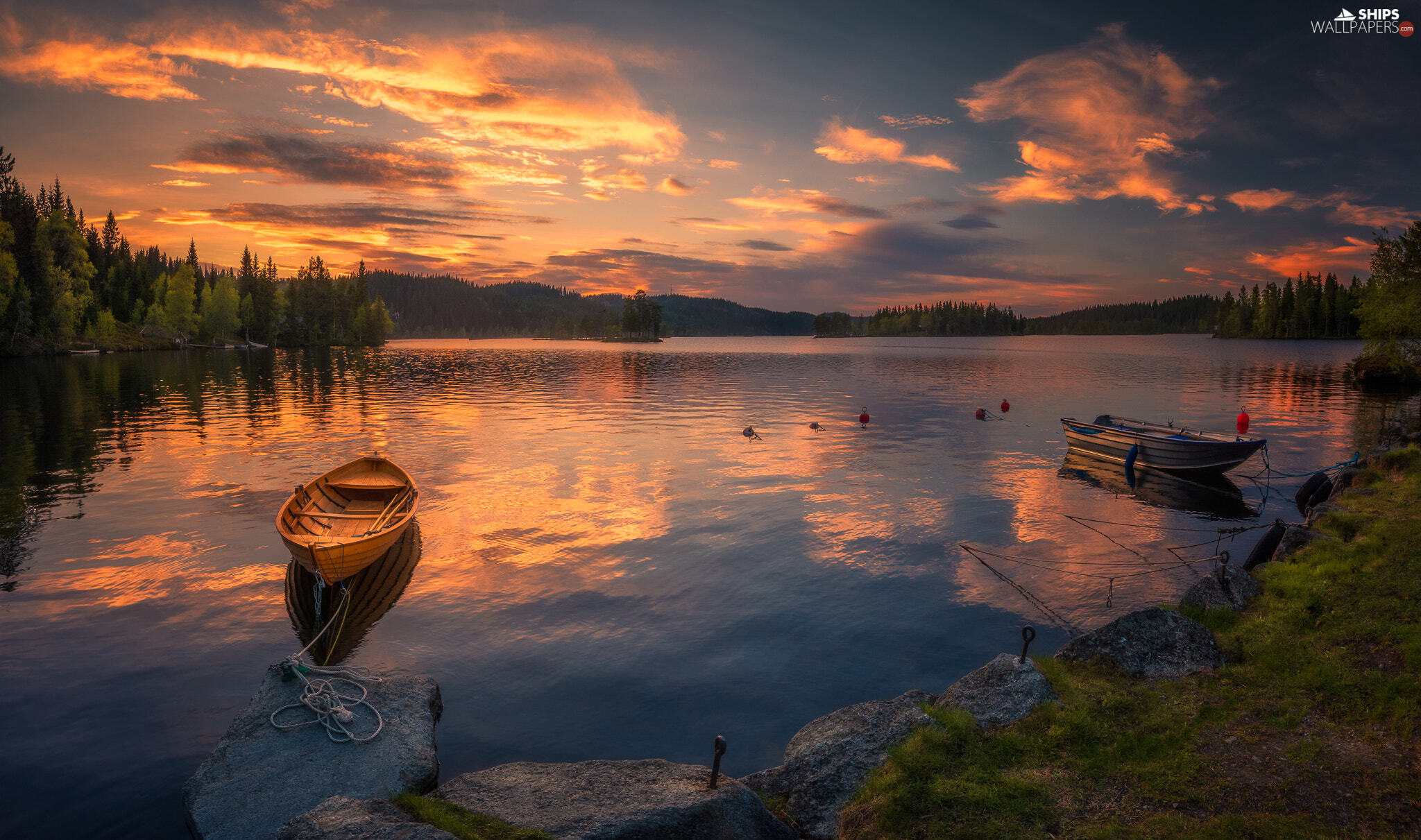 Ringerike, Norway, lake, boats, clouds, Great Sunsets, trees, viewes, coast