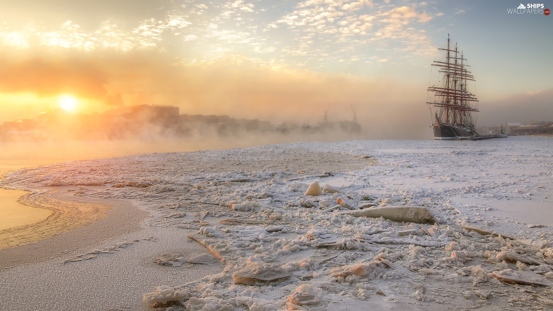 Sunrise, sailing vessel, River, snow, winter