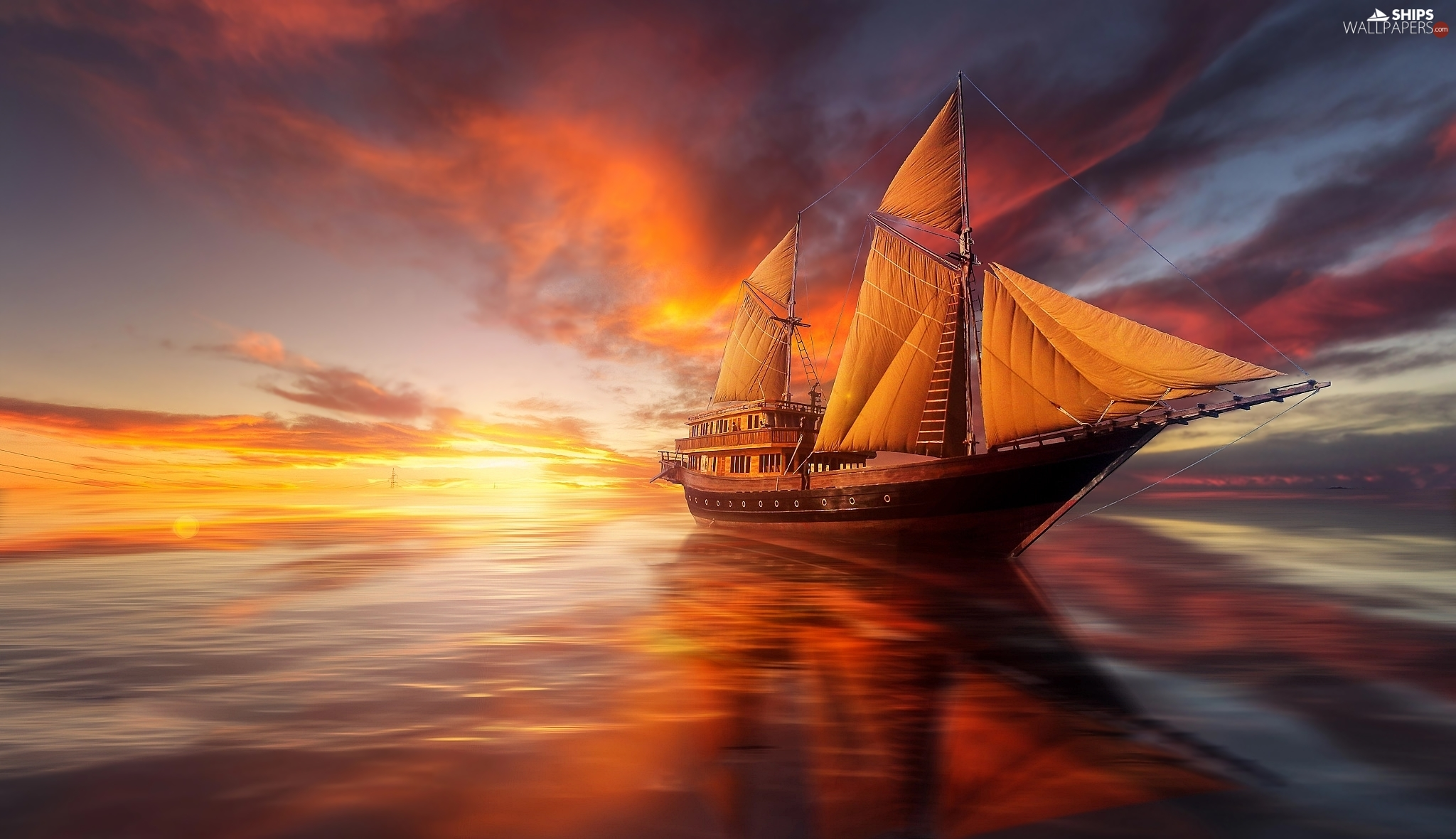 Great Sunsets, sailing vessel, sea