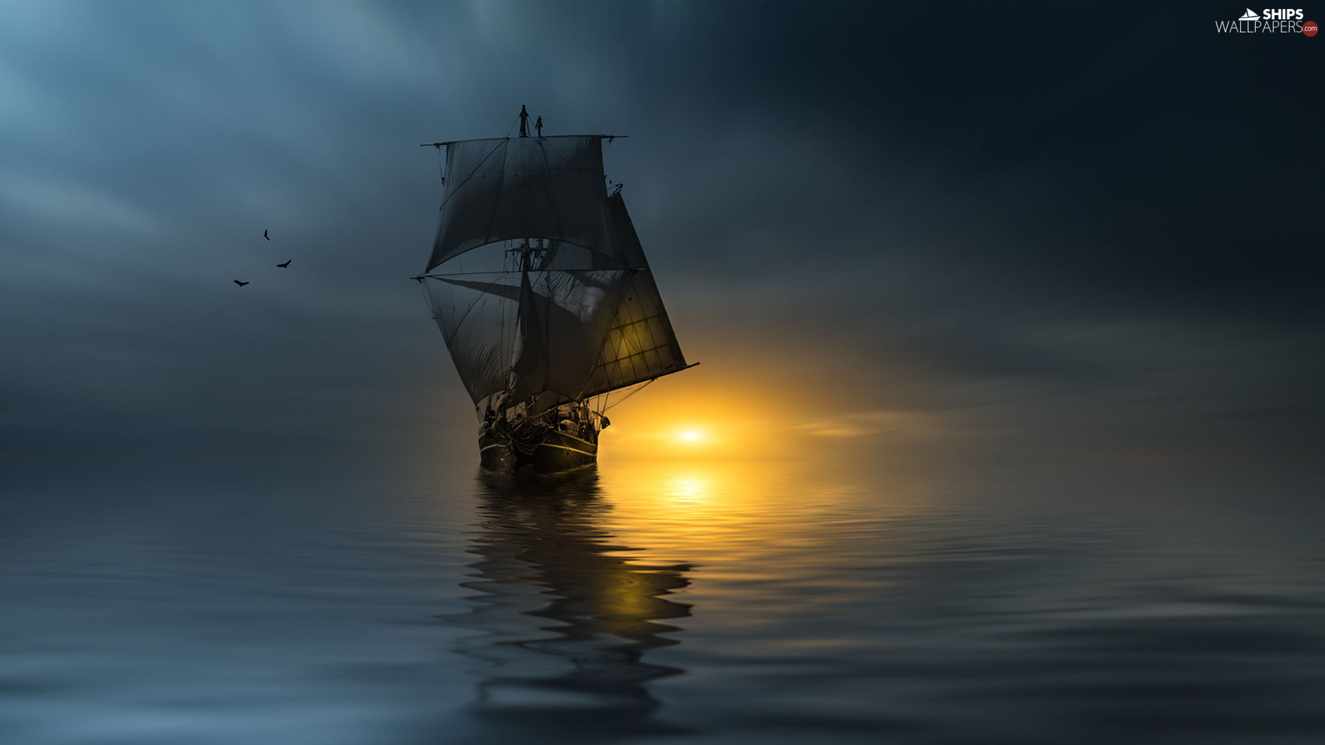 sea, Sunset Sailing Ship