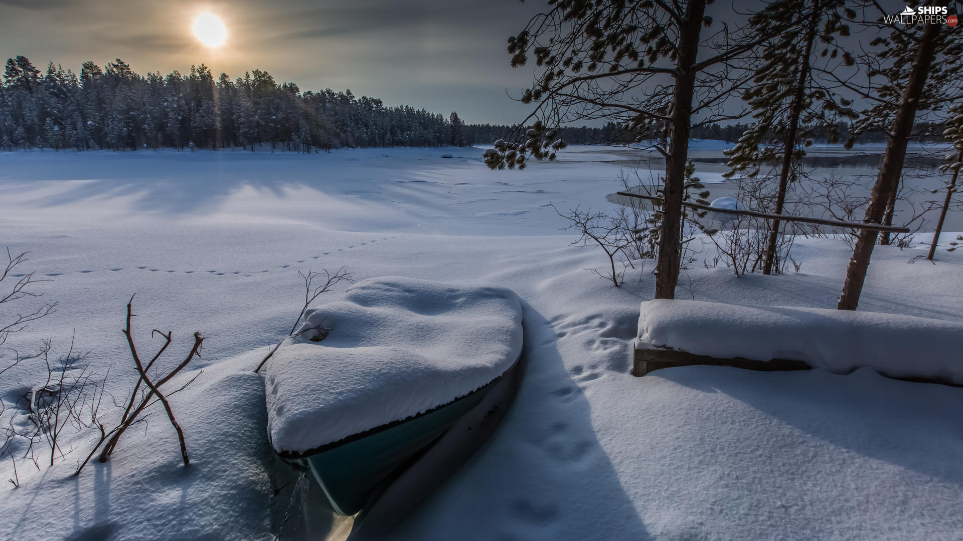 snowy, winter, lake, Boat, sun, traces, trees, viewes, snow