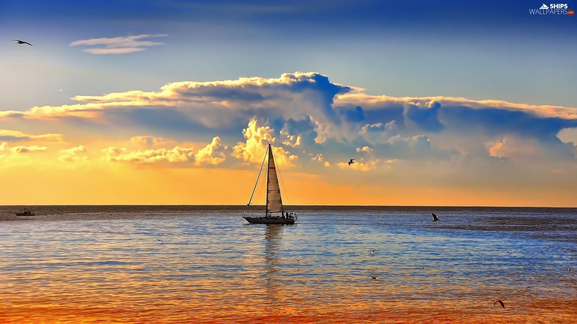 sea, west, sun, Yacht