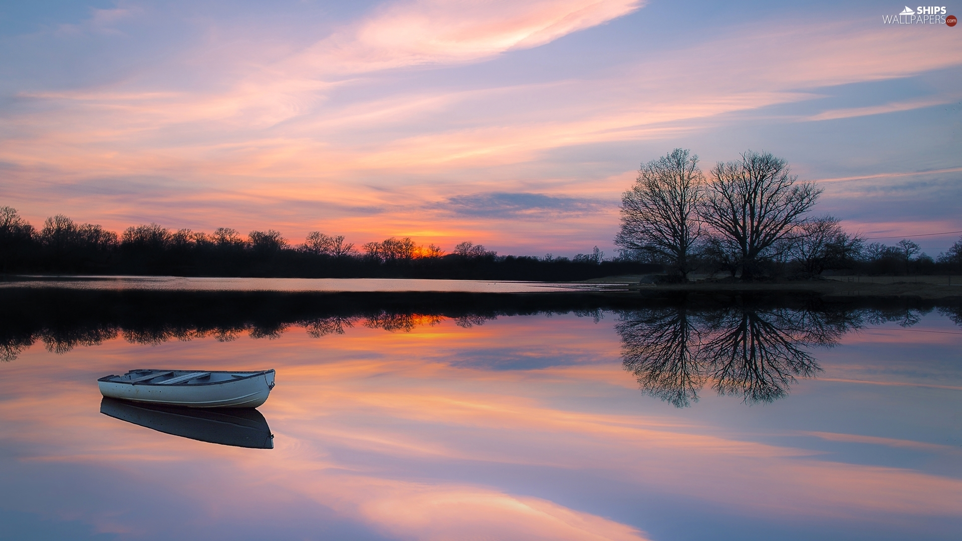 trees, lake, Great Sunsets, reflection, viewes, Boat