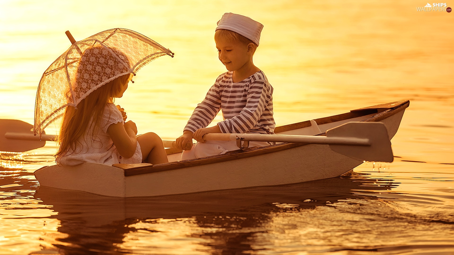 River, two, Great Sunsets, umbrella, Boat, Kids