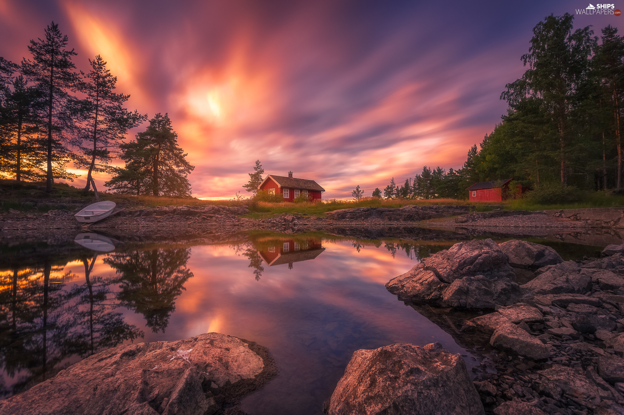 Vaeleren Lake, Great Sunsets, house, trees, Boat, Ringerike, Norway, viewes