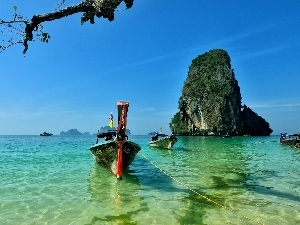 Thailand, Reilly, Boats, rocks, peninsula, Beaches, sea