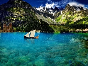 Mountains, lake, Boat, clear