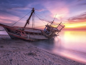 Sand, Great Sunsets, Boat, wreck, sea, Beaches