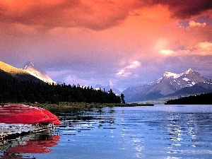 boats, Mountains, lake
