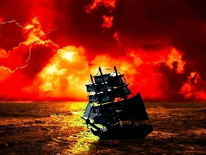 clouds, sailing vessel, sun, water, west, Storm