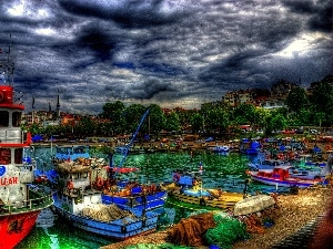 clouds, Turkey, motorboat, Cutters, port