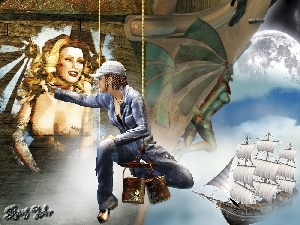 sailing vessel, Women, decorator