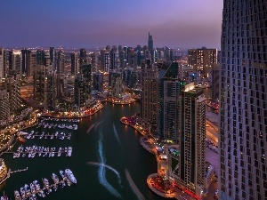 Dubaj, night, clouds, Boats, skyscrapers