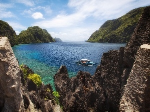 rocks, sea, Palawan, Mountains, Boat, El Nido, Philippines