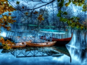 forest, boats, lake