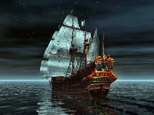 sailing vessel, Night, graphics, sea