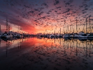 Harbour, lake, Great Sunsets, Yachts