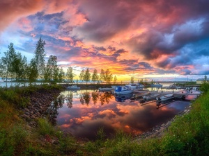 Harbour, motorboat, lake, Way, viewes, clouds, Great Sunsets, trees