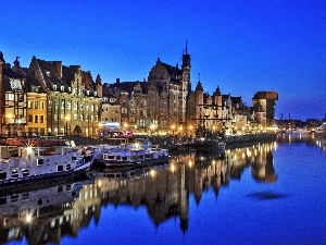 houses, antique, Panorama of Gdansk, crane, nigh, motlawa, River, vessels