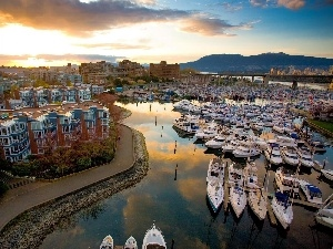 Yachts, Houses, reflection, Mountains, sun, Mooring, River, west