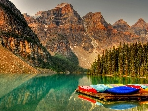 Kayaks, Mountains, forest, River, rocks