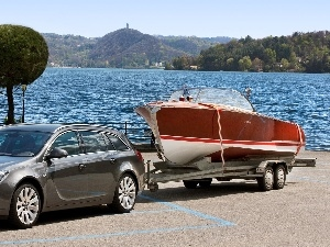 Opel Insignia, bath-tub, lake, Trailer