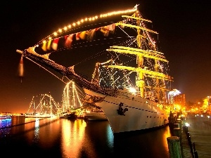 Floodlit, water, Masts, sailing vessel