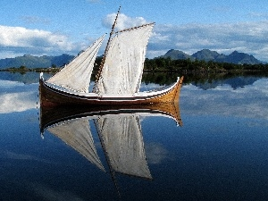 Boat, lake, Mountains, sail