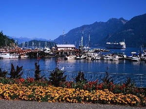 Mountains, Flowers, Ship, motorboat, port