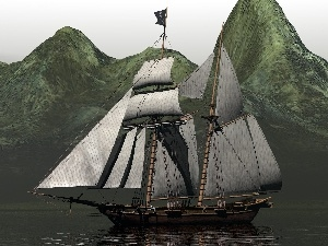 water, sailing vessel, Mountains