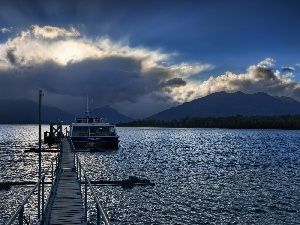 Platform, clouds, Mountains, Yacht, River