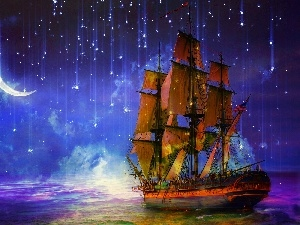 fantasy, star, sailing vessel, Night