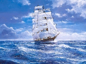 sailing vessel, sea