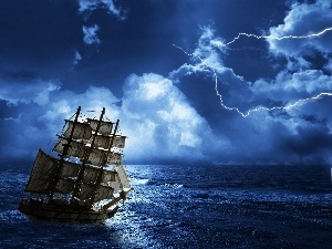 Storm, sea, sailing vessel, clouds