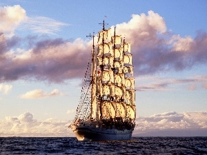 clouds, sailing vessel, sea