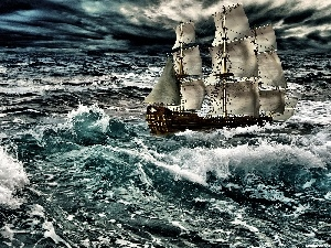 Storm, sailing vessel, sea